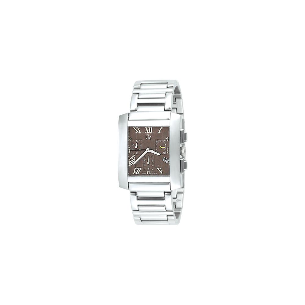 Gc 方型三眼計時腕錶-咖啡/ 34x42mm