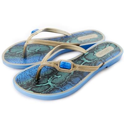 GRENDHA 寶石蟒蛇圖紋時尚夾腳鞋-寶藍