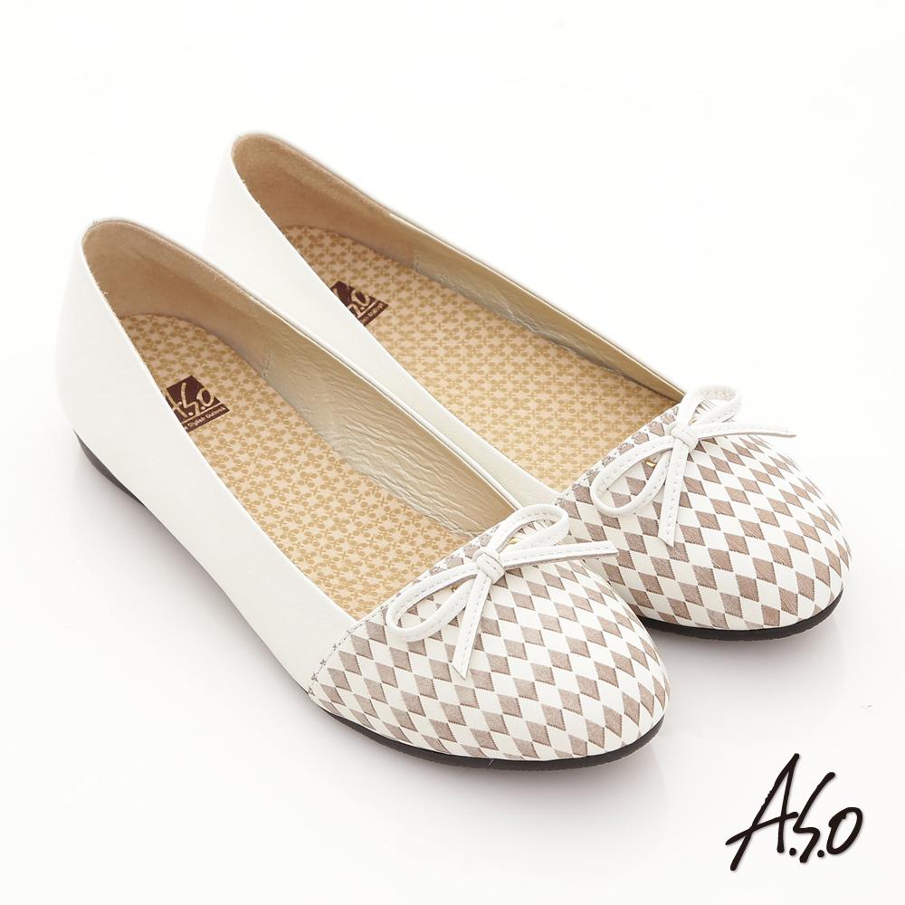 A.S.O 超輕量系 全真皮菱格細帶蝴蝶奈米平底鞋 白