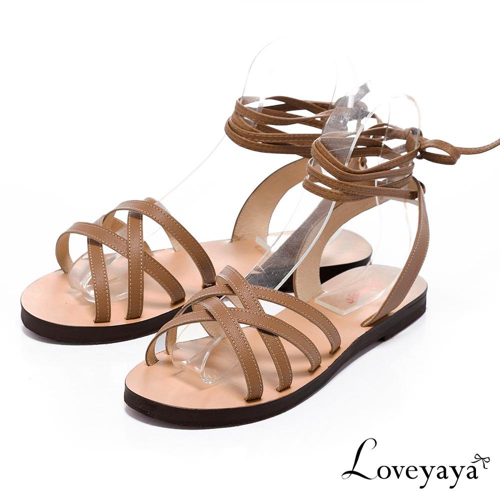 Loveyaya - 夏日波希米亞綁帶羅馬涼鞋 - 棕