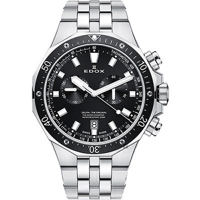 EDOX Delfin 水上冠軍專業200米防水計時碼錶-黑錶圈x銀/43mm