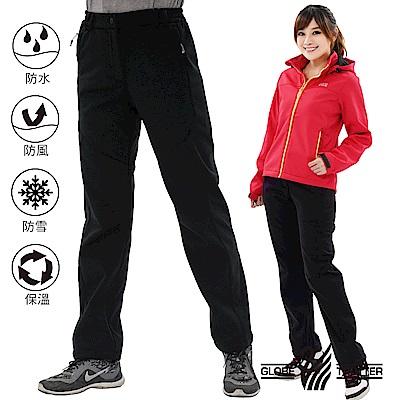 【遊遍天下】女款3D顯瘦防水防風禦寒軟殼刷毛褲GP20001黑