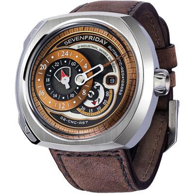 SEVENFRIDAY Q2 日期顯示自動上鍊機械錶-銅色/44*50mm