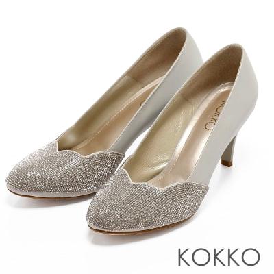 KOKKO璀璨名媛‧波浪花形滿鑽牛皮高跟鞋 - 奢華灰