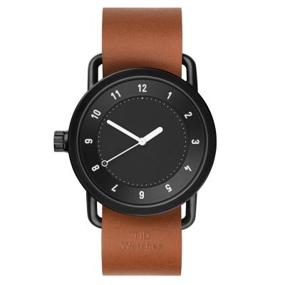 TID Watches No.1 Black 黑x棕褐色真皮腕錶-40mm