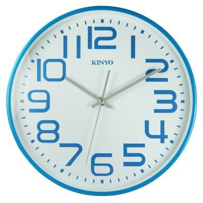 KINYO 13吋馬卡龍大數字靜音掃描掛鐘(CL146)