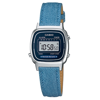 CASIO 經典小巧簡約數位皮帶錶(LA670WL-2A2)-藍框X深藍/24.6mm