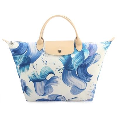Longchamp Splash 花漾清新圖騰中型水餃包(短把/藍莓色)