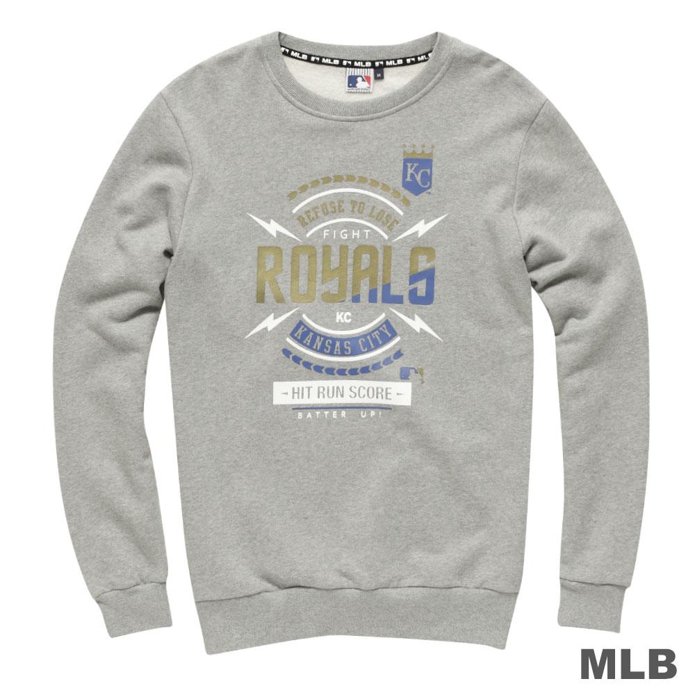 MLB-堪薩斯城皇家隊圓領閃電印花厚長袖T恤-麻灰(男)