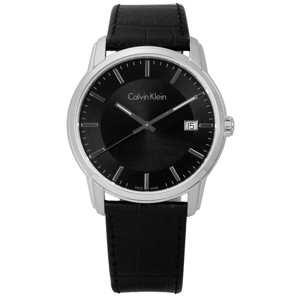 CK 典藏品味日期皮革手錶-黑色/41mm