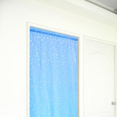 布安於室-銀色星空遮光長門簾-藍色-寬100x高130cm