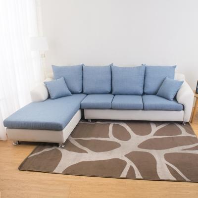Bernice 珀西L型皮布沙發-送抱枕(三色可選)(左右型可選)