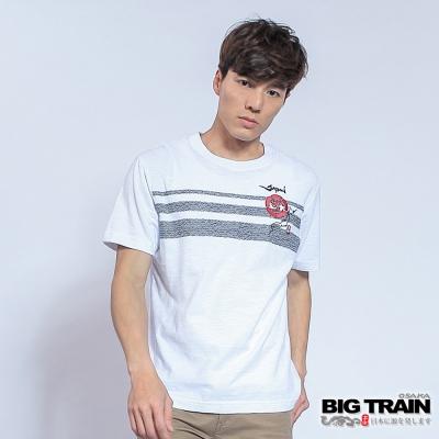 BIG TRAIN 燃夏海浪圓領T-男-白色