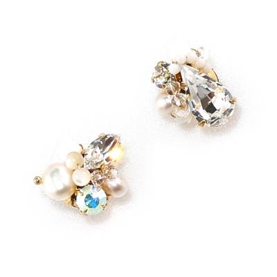 Luce Costante Petit系列優雅水晶珍珠耳環(針式/夾式)