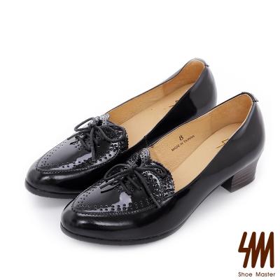 SM-台灣全真皮-心形鏡面牛皮中低粗跟樂福鞋-黑色