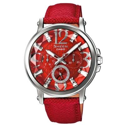 SHEEN 經典鑽石切面奢華風貌施華洛世奇皮帶錶(SHE-3035L-4A)-紅/38.4mm
