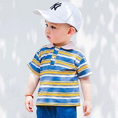 Baby unicorn 藍黃條紋立領短袖上衣