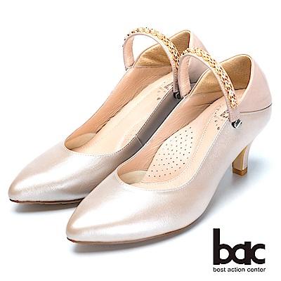 bac巧思設計-兩用穿搭真皮高跟鞋-粉紅色