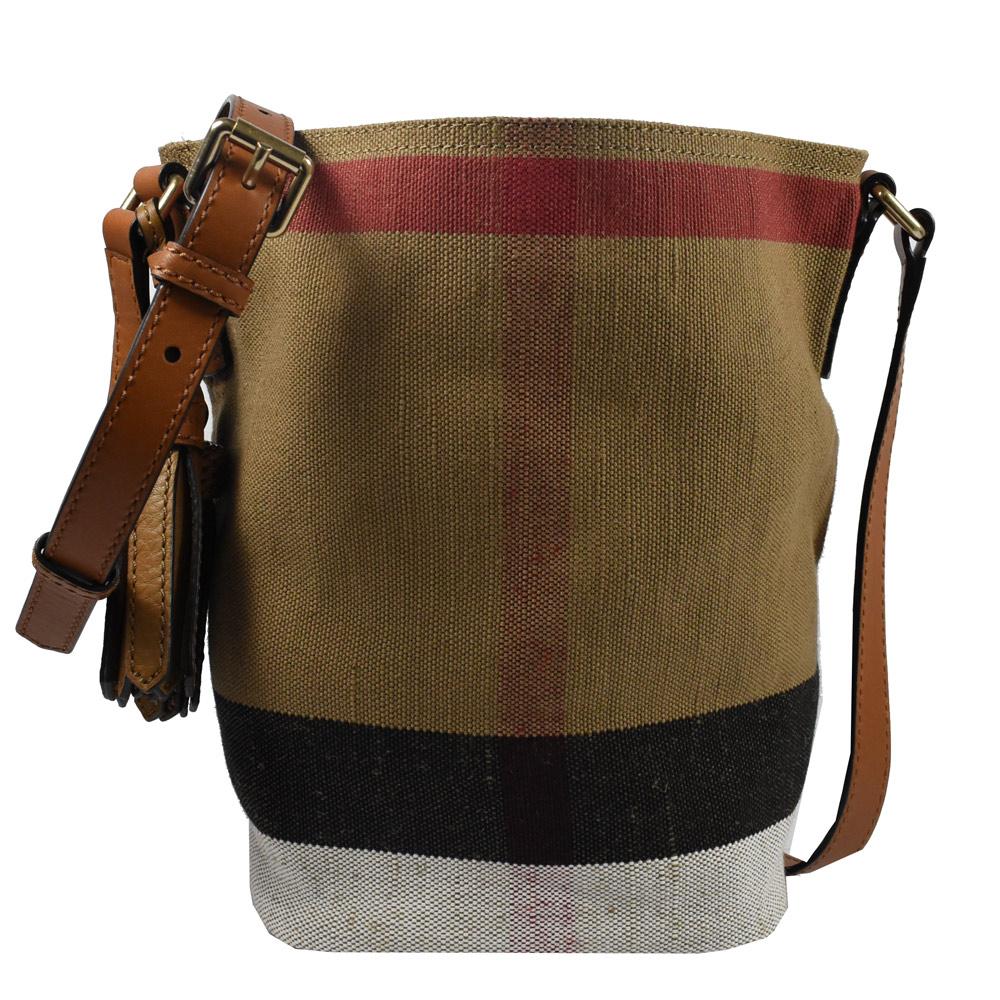 BURBERRY 格紋棉麻系列斜背水桶包(咖)
