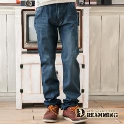 Dreamming 日系刷色抓痕造型口袋單寧中直筒褲
