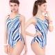 連身式泳裝 挖背三角競泳款 (藍色系印花條紋圖騰M-L) TiNyHouSe product thumbnail 1