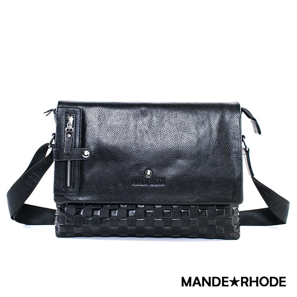 MANDE RHODE - 威尼斯MR-A - 真牛皮棋盤格紋斜側背包 - 52082