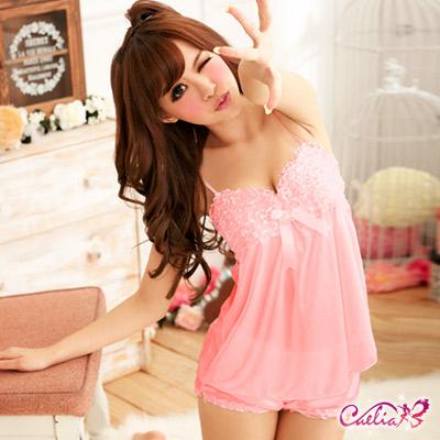 Caelia-甜蜜芭比-粉紅二件式睡襯衣