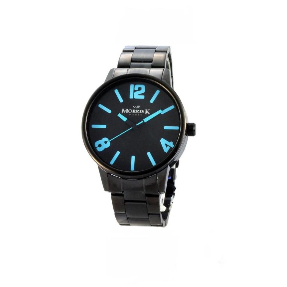 MORRIS K 擁你入夢潮流時尚腕錶-IP黑x藍/42mm