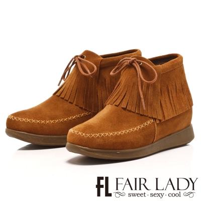 Fair Lady 民族風情流蘇綁帶麂皮短靴 棕