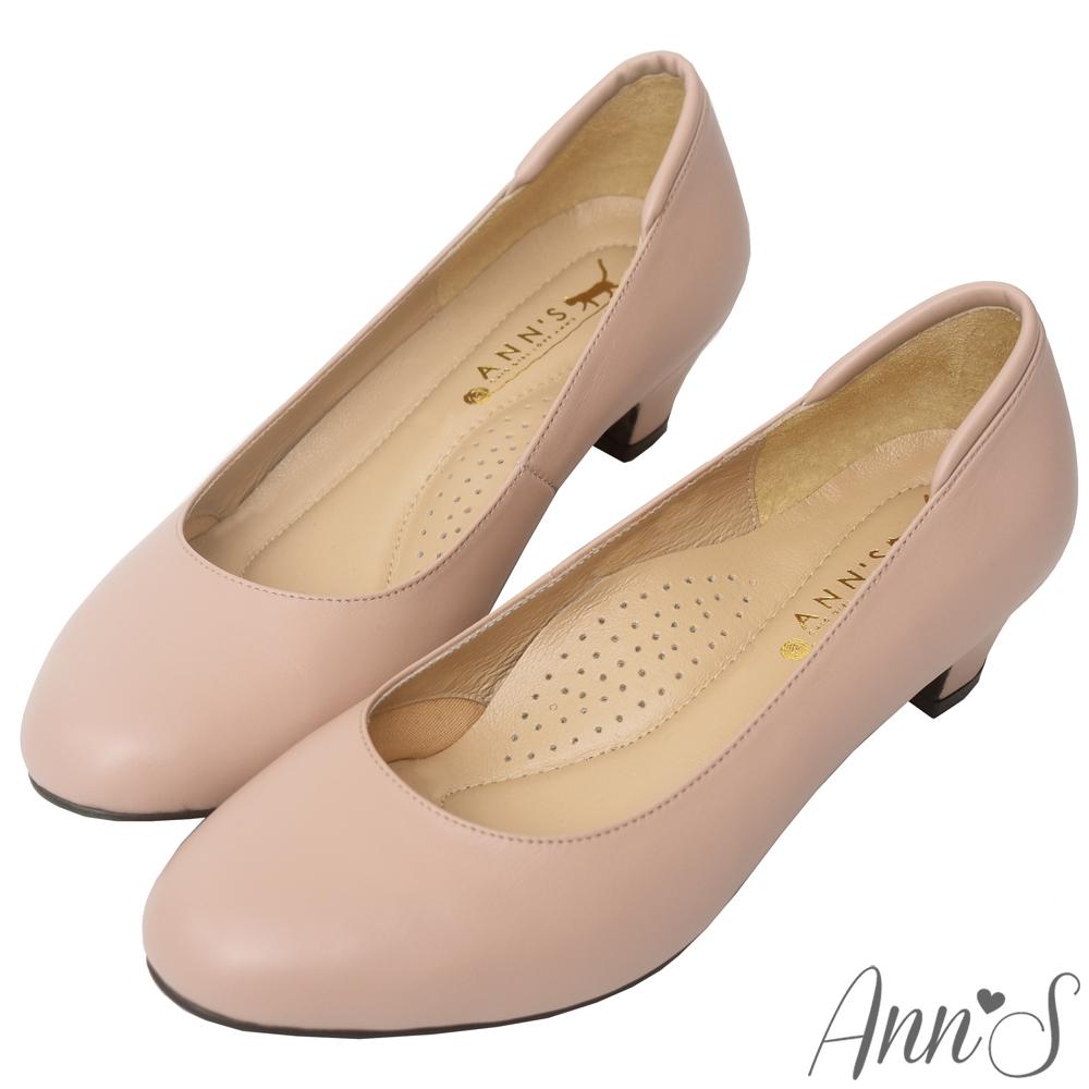 Ann'S通勤久站款全真羊皮低跟包鞋-粉