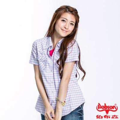 BOBSON 女款格紋短袖襯衫(粉10)