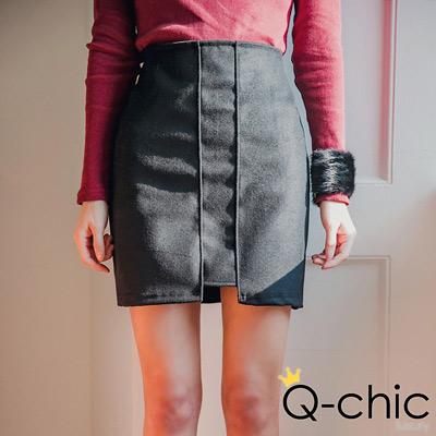 正韓 率性直線結構拼接毛呢窄裙 (共二色)-Q-chic