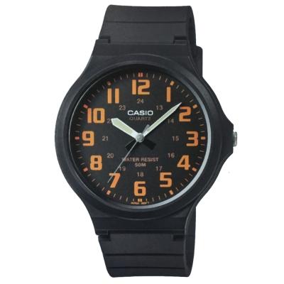CASIO 超輕薄感實用必備大表面指針錶-(MW-240-4B)黑x橘數字/45mm