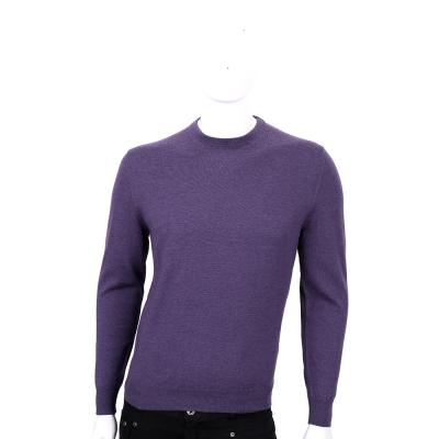 Ermenegildo Zegna紫色素面圓領羊毛針織上衣(100%WOOL)