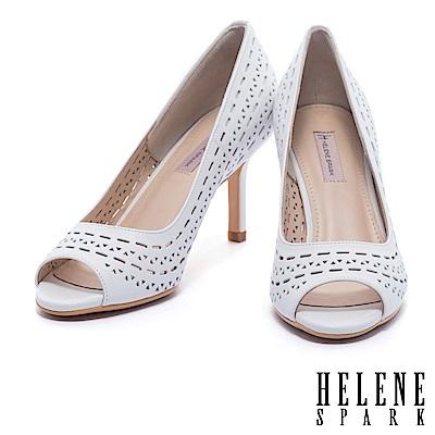 高跟鞋 HELENE SPARK 時尚摩登雙型沖孔排列造型羊皮魚口高跟鞋-白