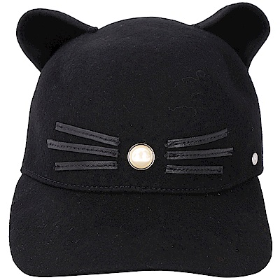 KARL LAGERFELD K/CAT 貓耳造型珍珠飾羊毛棒球帽