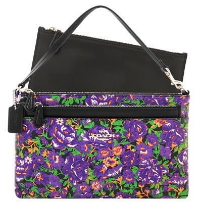 COACH 紫色花朵圖樣PVC手提包-附可拆拉鍊長夾