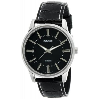 CASIO 經典時尚實用百搭簡約指針皮帶腕錶-黑面(MTP-1303L-1A)/40mm
