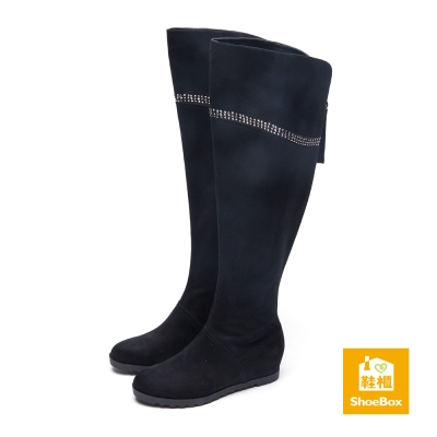 鞋櫃ShoeBox 長靴-反折過膝布面內增高平底長靴-黑