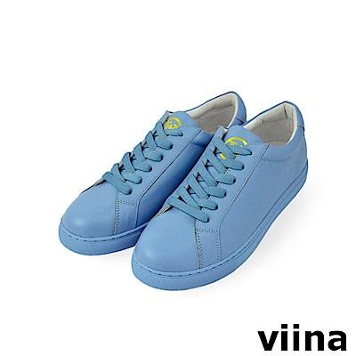 viina 休閒系列-繽紛糖果色牛皮球鞋-淺藍