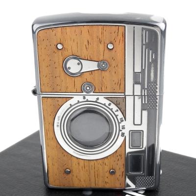 ZIPPO 日系~復古單眼相機-蝕刻木鑲嵌設計打火機-銀古美款
