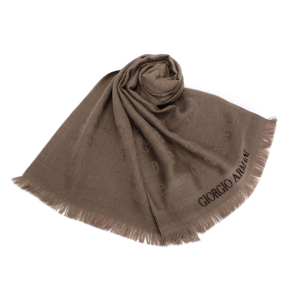 Giorgio Armani 滿版經典LOGO徽章羊毛圍巾-褐色