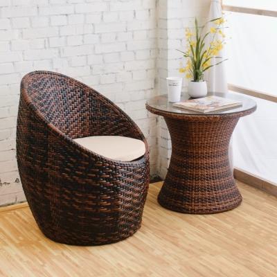 Boden-渡假風休閒藤編桌椅組(一桌一椅)-60x60x56cm