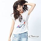 OUWEY歐薇 手繪風貓頭鷹連袖棉T(白)-動態show