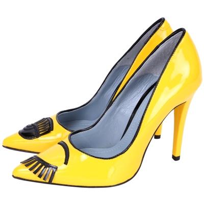 Chiara Ferragni Flirting 新改版眨眼漆皮尖頭高跟鞋(黃色)