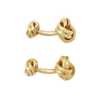 TIFFANY&Co. KNOT系列18K金繩結造型袖扣(金)