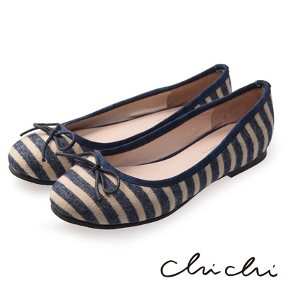 Chichi 春日物語 可愛蝴蝶結條紋娃娃鞋*深藍