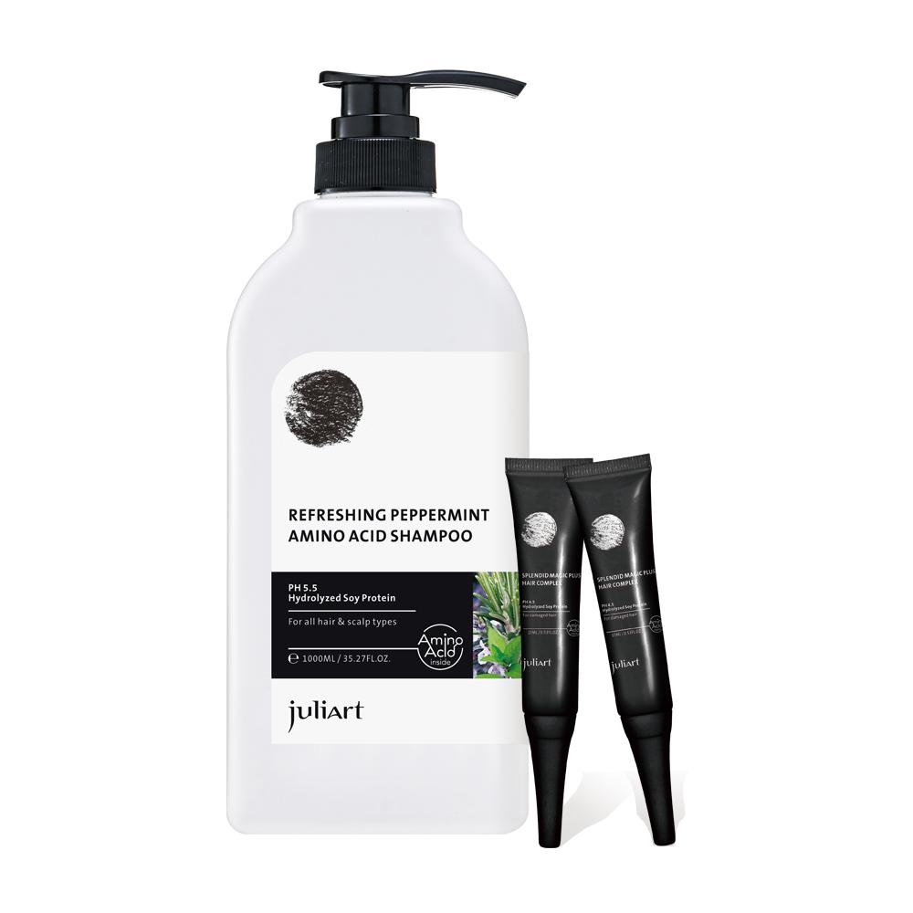 JuliArt 控油沁涼洗髮組(超涼薄荷迷迭香洗髮精1000mL+魔髮精靈x2)