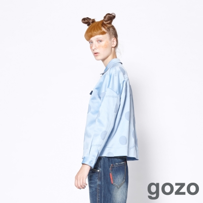 gozo 網路獨家-滑面復古大圓點長袖襯衫 (二色)