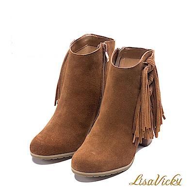 LisaVicky 美式個性側邊流蘇粗跟短靴-沙漠棕